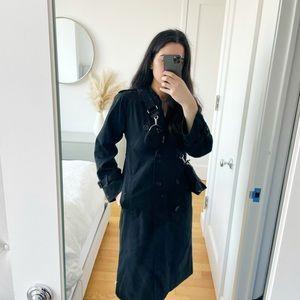 Burberry's Vintage Black Trench Coat Long Jacket